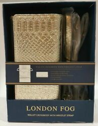 London Fog Surrey Wallet Crossbody with Wristlet Strap Gold Color New in Box $14.85