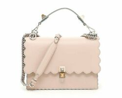 Fendi Womens Kan I Soft Pink Calf Leather Silver Chain Shoulder Bag 8BT283