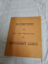 Instructions For Use And Operation Of Mineralight Lamps - Vintage - Los Angeles