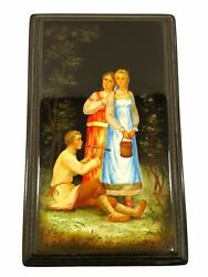 Large Hand Painted Signed Russian Lacquered Box W/ Boy Playing Flute And 2 Girls