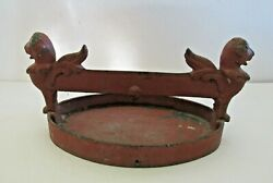Vintage Winged Griffin Boot Scraper Victorian Cast Iron Oval Shape