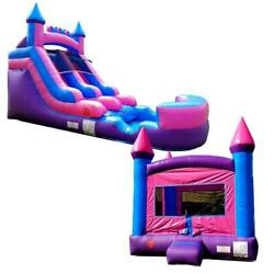 Pogo Pink Princess Premium Inflatable Bounce House And Water Slide With 2 Blowers