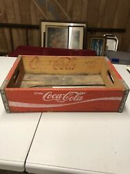 Vintage Coca-cola Wooden Coke Soda Pop Crate Carrier Box Case Wood Red