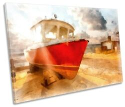 Fishing Boat Beach Print SINGLE CANVAS WALL ART Picture $119.99