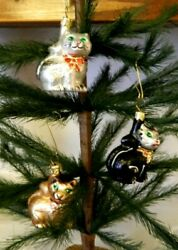 Set of 3 Small Brown Black White Kitty Cat Mix Glass Christmas Ornaments Poland