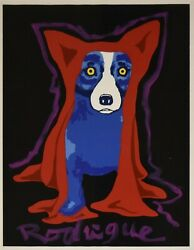 George Rodrigue Blue Dog Original 1 of 1 Hiding My Blues From You Signed Print