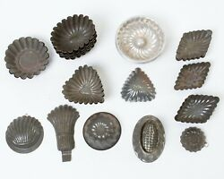 Lot Of 35 Antique Tin Candy Jelly Pudding Molds Small Size Hearts Diamonds +