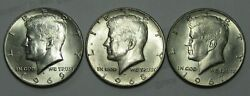 1967, 1968-d And 1969-d Kennedy Silver Half Dollars, Mint State Free Shipping