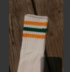 Vintage 80#x27;s Men#x27;s Tube Socks Crew Length Yellow Green Colored Stripes NEW