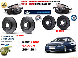 For Bmw 335d E90 Berlina 04-11 Front And Rear Performance Brake Disc Set+pads Kit