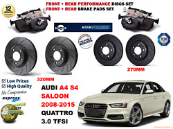 For Audi S4 3.0 Berlina 08-15 Front And Rear Performance Brake Disc Set + Pad Kit