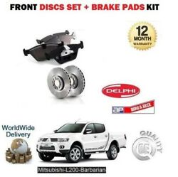 For Mitsubishi L200 Barbarian 2.5dt Did 2006 Front Brake Discs Set + Disc Pads