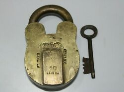 Old Or Antique Solid Brass Padlock And Key Very Huge And Heavy 10 Levers Lock