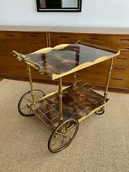 Laquered Goat Skin / Brass Accent Bar Cart Designed By Aldo Tura, Italy, Signed
