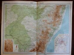 New South Wales Australia Sydney Canberra City Plan C. 1920 Large Detailed Map
