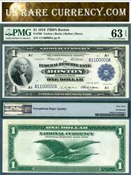1918 1 Federal Reserve Bank Note Boston Pmg Graded Fr-708 Fancy S/n A1100000a