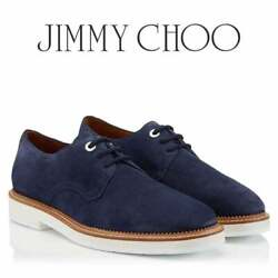 Jimmy Choo Graham Navy Blue Suede Lace Up Mens Shoes - New W/ Box Made In Italy