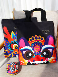 Chinese-style Canvas Bag with Kylin Dragon Fairy Beasts Design Fine Mascot Gift