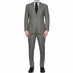 Cesare Attolini Gray Of Wales Wool Super 110and039s Flannel Suit 50 New Us 40