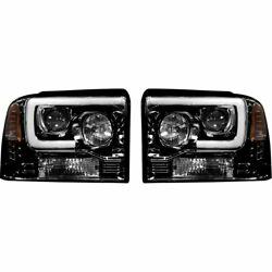 Recon Smoked Projector Headlights W/ Oled U-bar For 2005-2007 Ford Super Duty