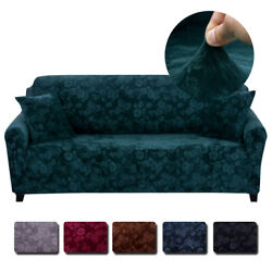 Vintage Embossed Flower Velvet Plush Sofa Cover Stretch Chair Couch Slipcovers $32.89