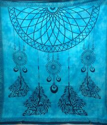 Indian Queen Tapestry Hippy Blue Dream Catcher Wall Hanging Decor Art dorm throw