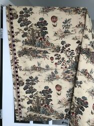 """Custom Toile Drapes Curtain 50 X 49"""" French Decor Lined Panel Pillows Tie Backs"""