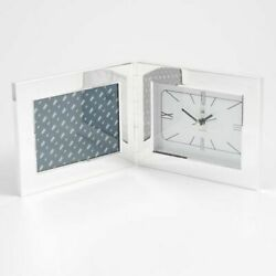 Silver Plated Alarm Clock And 3 1/2x5 Picture Frame