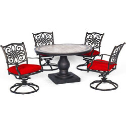 Monaco 5-piece Dining Set In Red With Four Swivel Rockers And A 51 In. Tile-t...