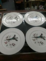 Ll Bean 'flying Pheasant' Collectible Plates 4 Hand Decorated Delano 10.25