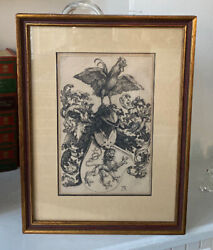 Antique Signed Armand Durand Albrecht Durer Engraving Coat Of Arms With Cock