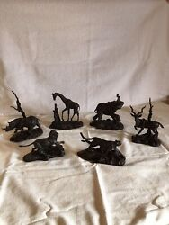 Franklin Mint African Wildlife Bronze Statues