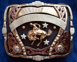 Bronc Riding Rodeo Style Heavy Trophy Belt Buckle German Silver 24k Gold Plated