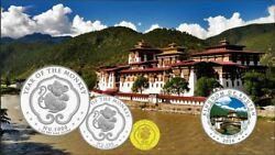 Bhutan 2016 Year Of The Monkey Prestige Complete Proof Gold And Silver Coin Set