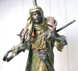 Franz Bergman - Cold Painted Bronze Lamp Early 1900and039s Hunter Hunting - Austria
