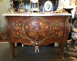 Antique Marble Top 2 Drawer Bombe Chest W/ Inlay Bronze Detail And Lock And Key