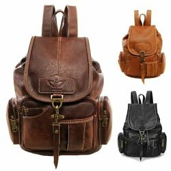 Women Vintage Leather Backpack Bag Shoulder School Travel Bag Satchel Rucksack
