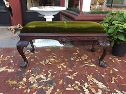 Antique Georgian Chippendale Irish English Carved Bench Pegged Construction