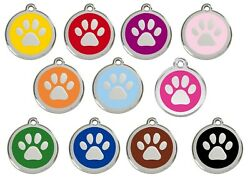 Red Dingo Paw Print Engraved Dog Id Identity Tags / Discs All Colours 1pp