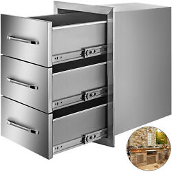 15.7w X 28.5h Triple Drawer Outdoor Kitchen Bbq Island Stainless Steel Drawers