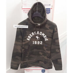 Abercrombie And Fitch Mens Logo Graphic Hoodie Sweatshirts Camo Size Medium
