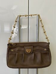 Salvatore Ferragamo Metallic Brown Leather Gold tone Evening Bag Clutch Women $140.00
