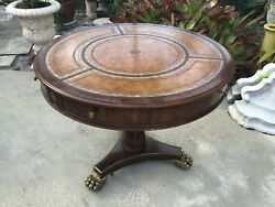 MAITLAND-SMITH ROUND ENTRANCE HALL TABLE EMBOSSED LEATHER AND BRASS CLAW FEET