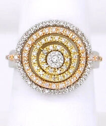 2.07ct Round Round Diamond 14k Solid White Gold Cocktail Ring In Size 7