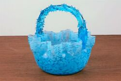Stevens And Williams Art Glass Basket With Thorn Handle Blue And White Speckles