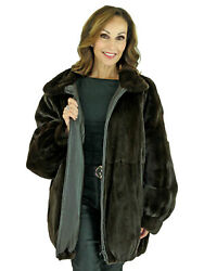 Woman's Dark Brown Sheared Mink Fur Jacket Reversing to Leather