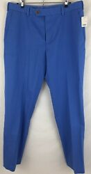 New Brooks Brothers Milano Fit Blue Flat Front Garment-dyed Chinos Sz 36 X 32