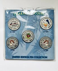 Disney Wdw 2009 Character Coin Pin Set - Monorail, Donald, Chip And Dale, Kermit
