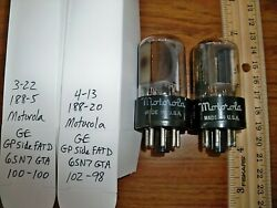 2 Strong Matched Motorola By Ge Gray Plate Side Fat D Getter 6sn7gta Tubes