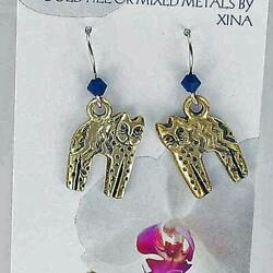 CAT EARRINGS Gold Fill Ear Wires with Black Swarovski Accent $7.95